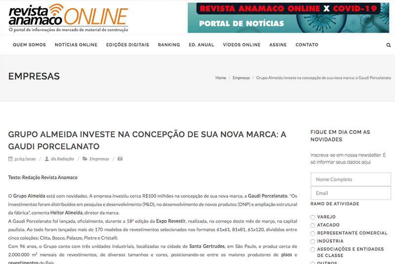 Destaque na Revista Anamaco Online